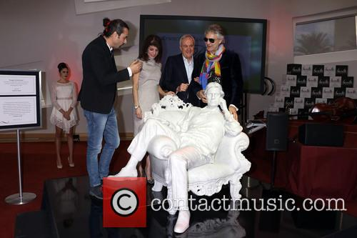 Andrea Bocelli marble statue unveiling