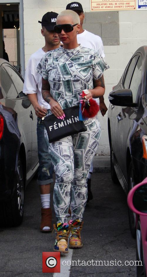 Amber Rose leaves a nail salon in Beverly...