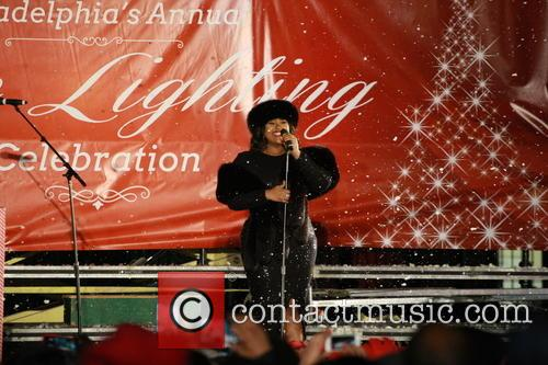 Jazmine Sullivan sings at the christmas tree lighting...