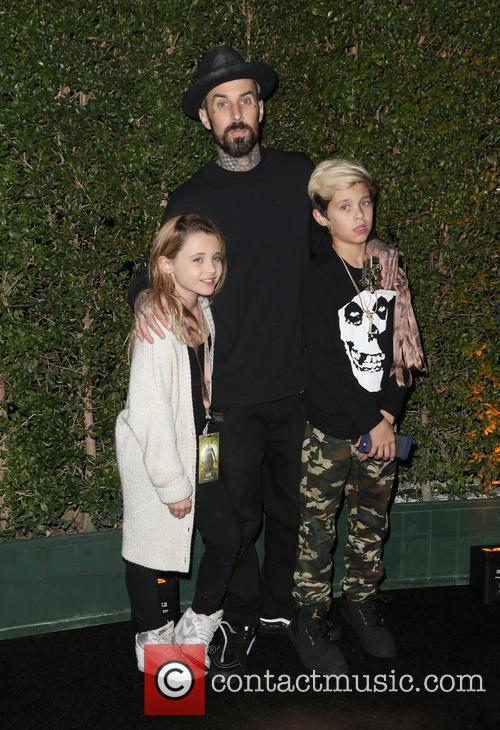 Travis Barker, Landon Asher Barker and Alabama Luella Barker 2