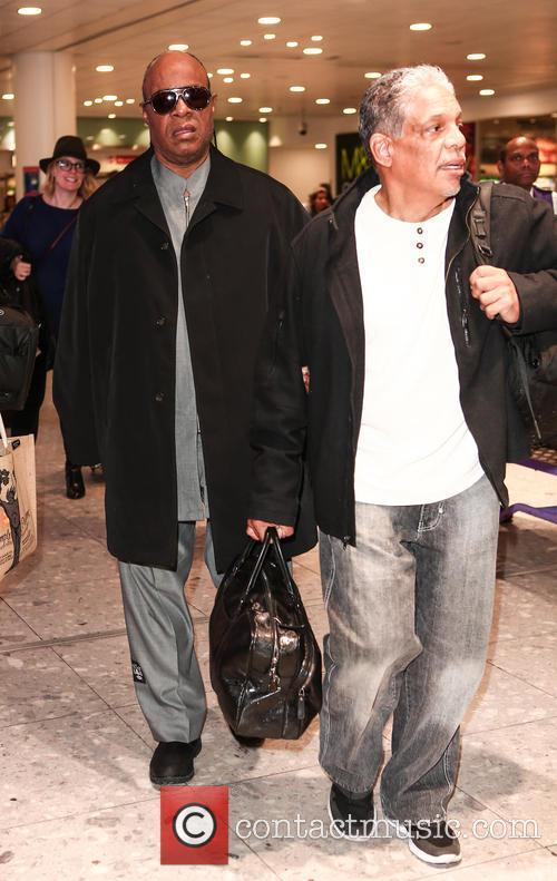 Stevie Wonder arrives at London Heathrow Airport