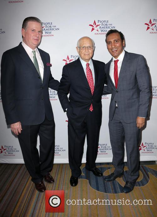 Michael Keegan, Norman Lear and Aasif Mandvi 9