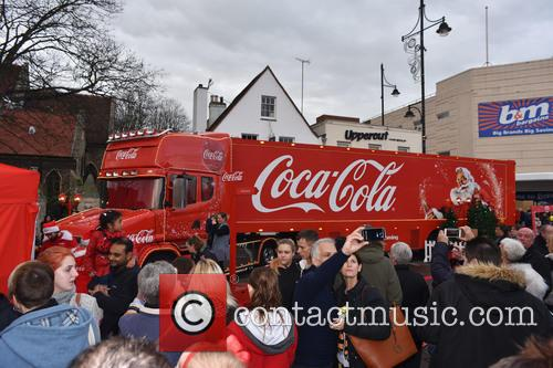 Coca Cola christmas lorry visits Romford