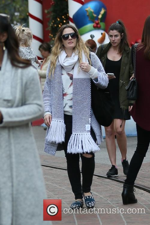 Drew Barrymore and family xmas shopping at The...
