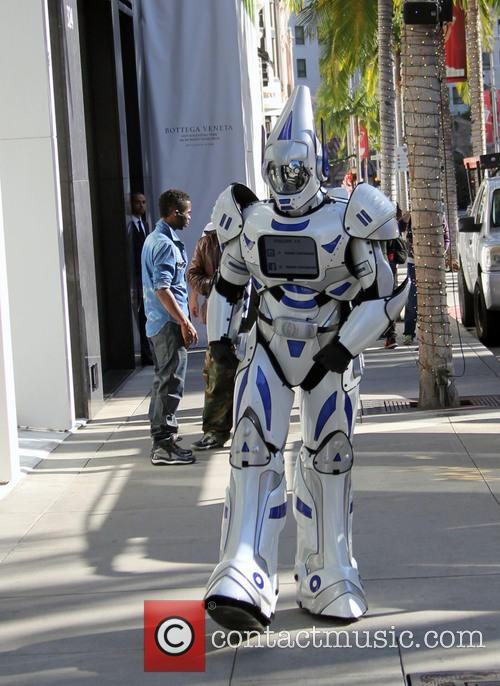 A robot goes christmas shopping in Beverly Hills