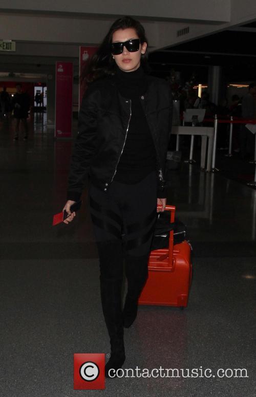 Bella Hadid arrives at Los Angeles International (LAX)...