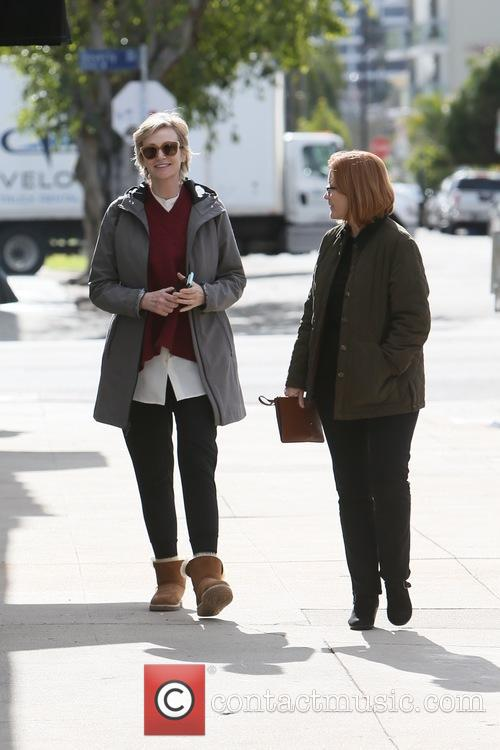 Jane Lynch and friend seen leaving King road...