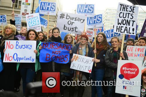 Student nurses march to Downing Street