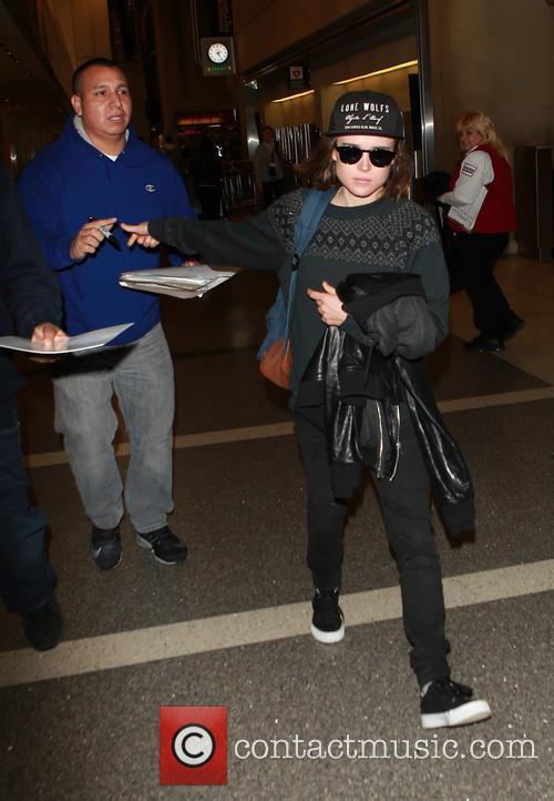 Ellen Page departs on a flight from Los...
