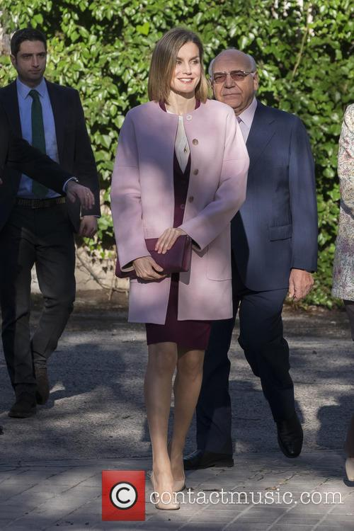 Queen Letizia arrives for a meeting with the...