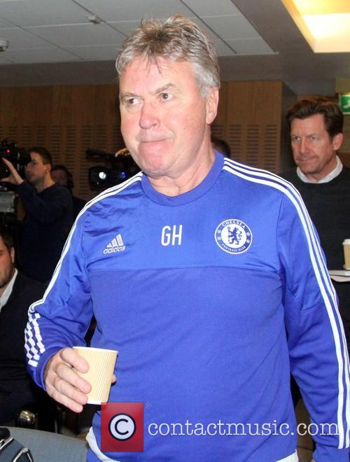Guus Hiddink attends Chelsea's press conference