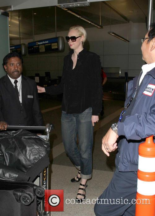 Gwendoline Christie arrives at Los Angeles International Airport...