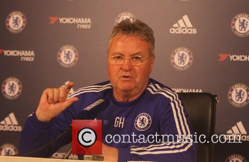 Guus Hiddink attend a Chelsea FC press conference