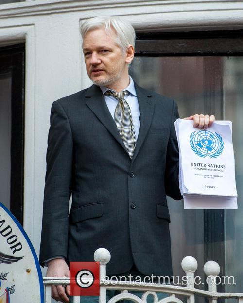Julian Assange, Wikileaks founder speaks from the Ecuadorian...