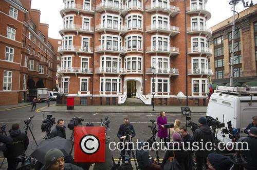 Atmosphere outside the Embassy of Ecuador in London...