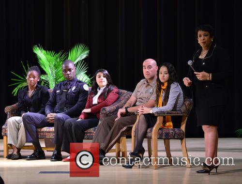 Conrad Thomas, Officer Michel, Dincy Ramirez-rivera, Officer Manny, Victoria Camacho and Loretta E. Lynch 2