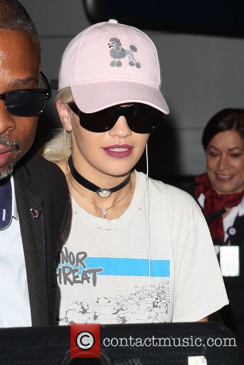 Rita Ora arrives at Los Angeles International Airport...