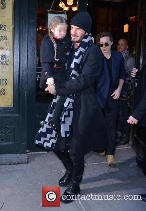 David Beckham and family leaving Balthazar in Manhattan