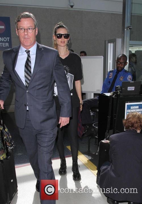 Behati Prinsloo arrives at Los Angeles International Airport...