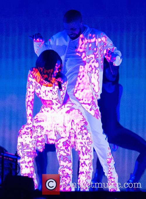 Drake & Rihanna onstage at the 2016 Brit Awards