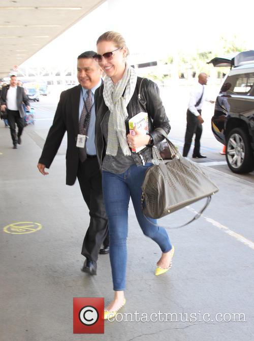 Katherine Heigl arrives at Los Angeles International Airport...