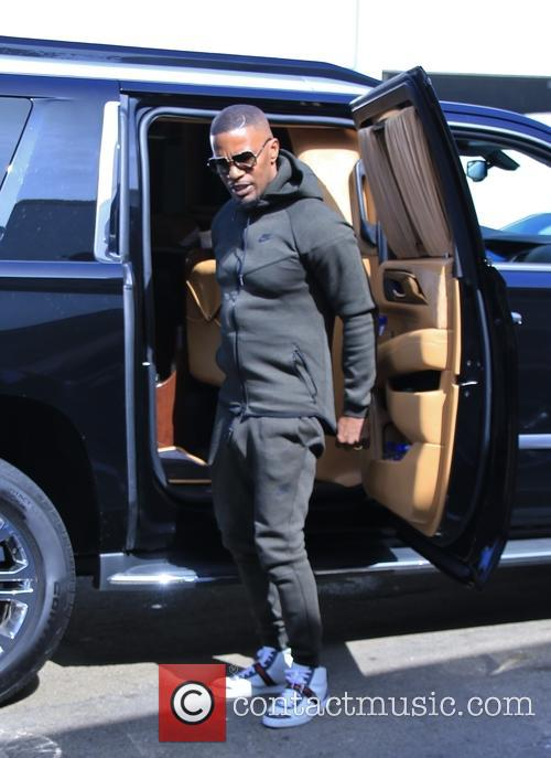 Jamie Foxx arriving at LAX to catch a...