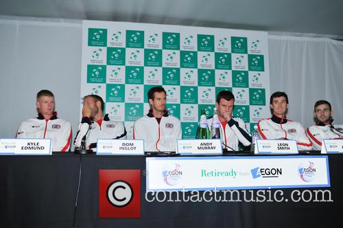 Kyle Edmund, Dominic Inglot, Andy Murray, Leon Smith, Jamie Murray and Dan Evans 7