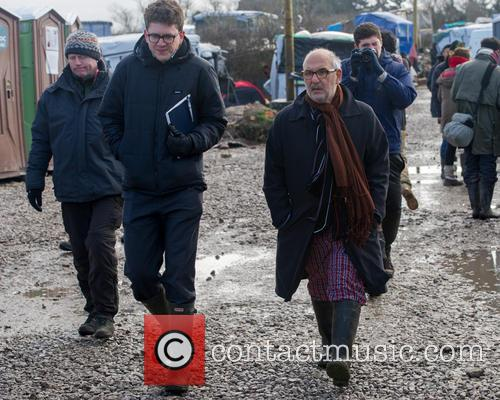 Television Presenter, Alan Yentob visits the Calais Jungle.