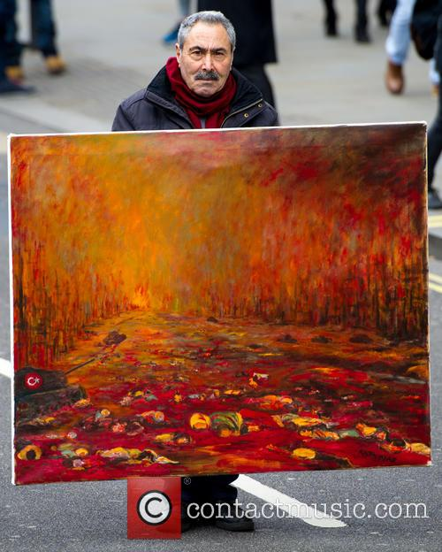 Kaya Mar With His Painting 'massacre Of The Kurds' 1