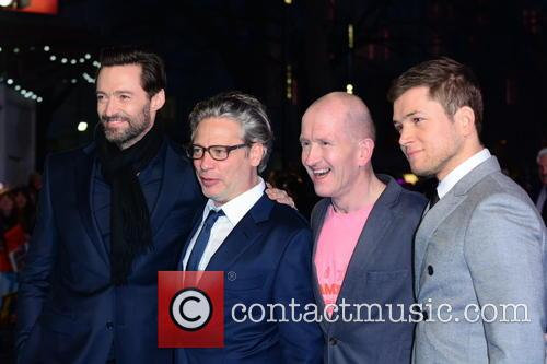 Hugh Jackman, Dexter Fletcher, Eddie 'the Eagle' Edwards and Taron Egerton 7