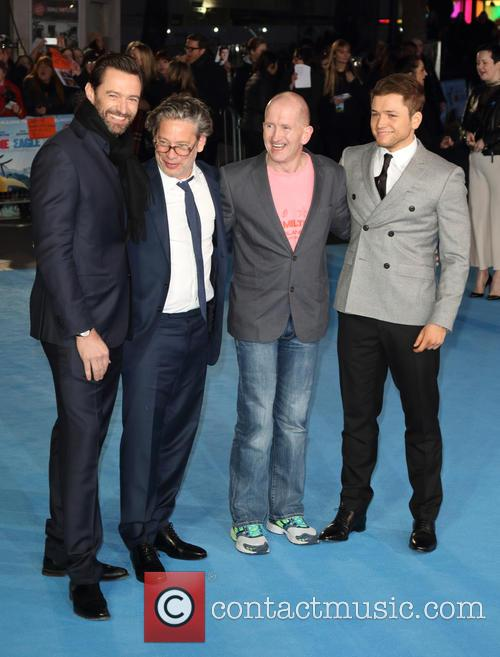 Hugh Jackman, Dexter Fletcher, Eddie 'the Eagle' Edwards and Taron Egerton 3