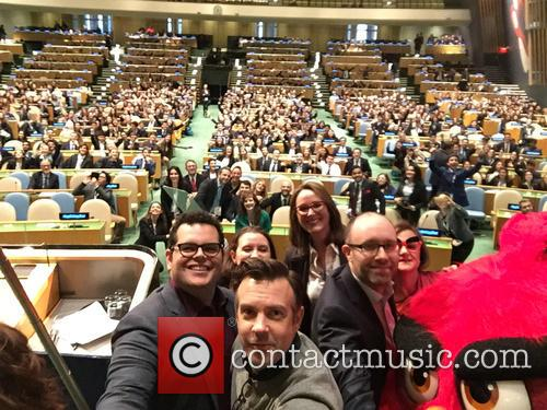 Josh Gad, Undp Climate Change Advisor Cassie Flynn, Producer Catherine Winder, Producer John Cohen and Jason Sudeikis 1