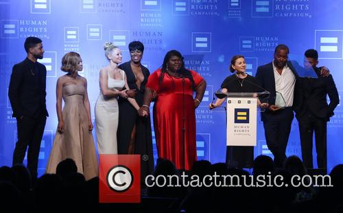 Jussie Smollett, Serayah, Kaitlin Doubleday, Ta'rhonda Jones, Gabourey Sidibe, Ilene Chaiken, Lee Daniels and Bryshere 'yazz' Gray 11