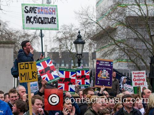 Farmer's fair trade protest in London.