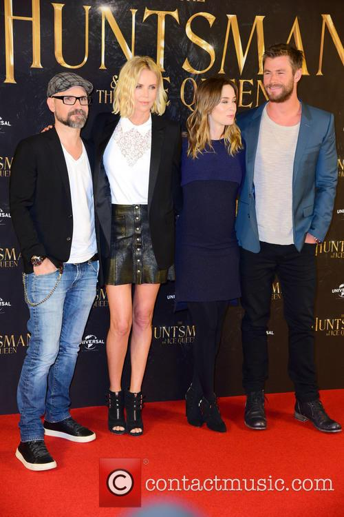 Cedric Nicolas-troyan, Charlize Theron, Emily Blunt and Chris Hemsworth 1