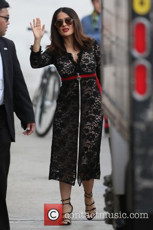 Salma Hayek seen arriving at the ABC studios