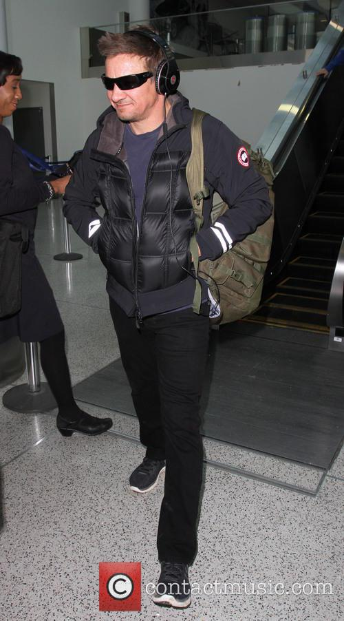 Jeremy Renner at Los Angeles International Airport