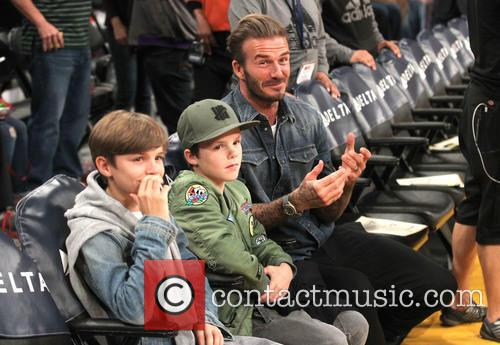 David Beckham with Cruz and Romeo
