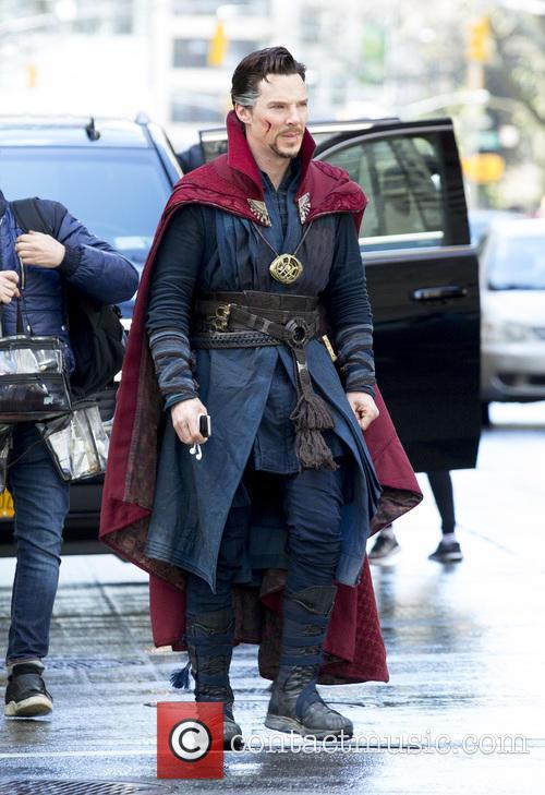 Benedict Cumberbatch filming Doctor Strange