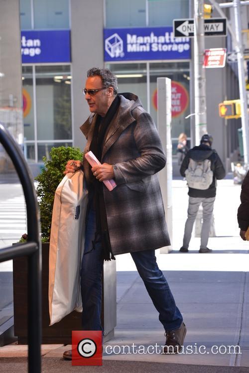 Brad Garrett entering his hotel in Soho