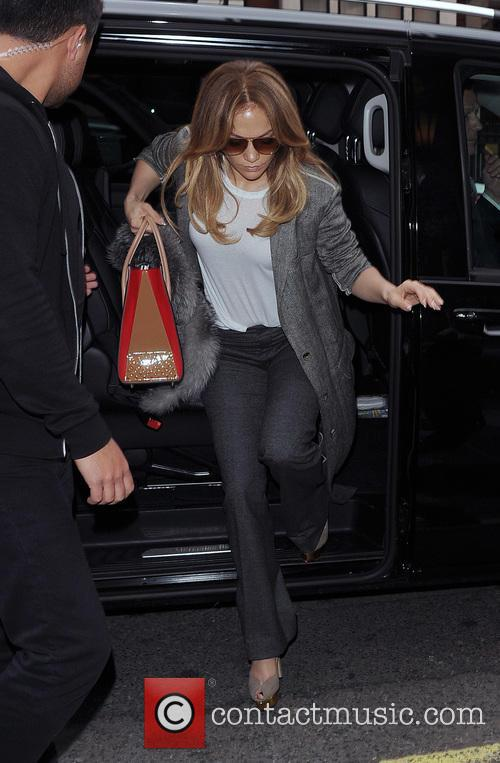 Jennifer Lopez arrives at Heathrow Airport with her...
