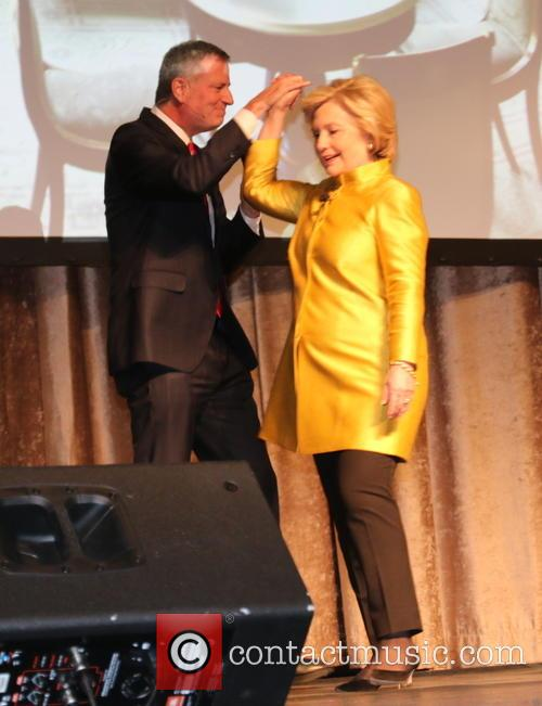 Bill De Blasio and Hillary Clinton
