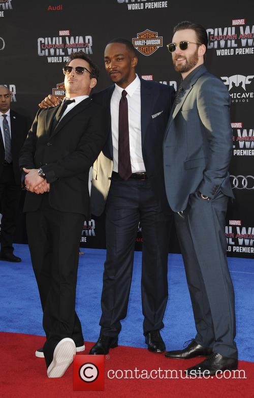 Chris Evans, Anthony Mackie and Robert Downey Jr. 2