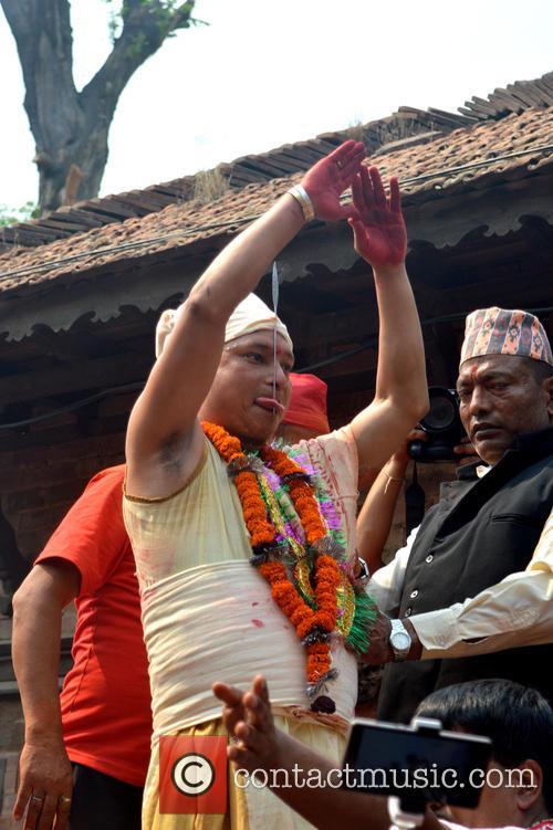 Juju Bhai Basha Shrestha has his tongue pierced...