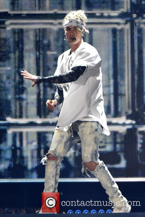 Justin Bieber performs at the Allstate Arena on...