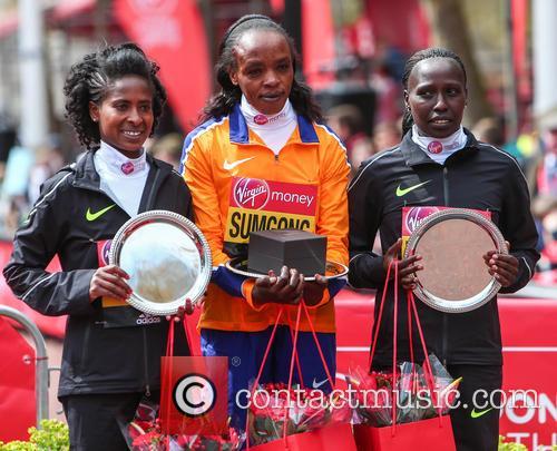 Tigist Tufa, Jemima Sumgong and Florence Kiplagat 1