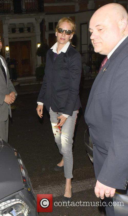 Uma Thurman arriving at her hotel