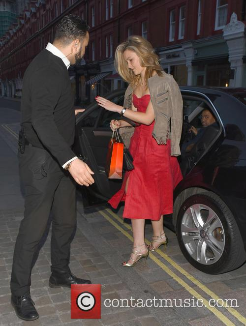 Amber Atherton in red dress at Chiltern Firehouse