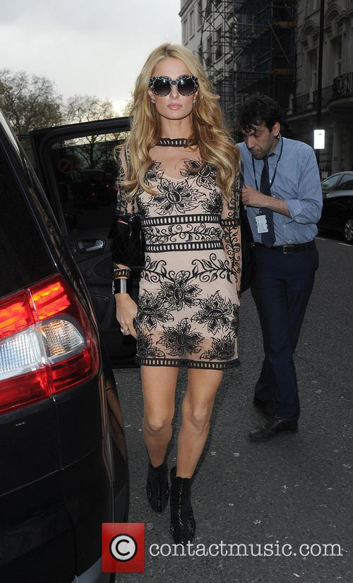 Paris Hilton attends a business meeting in Mayfair