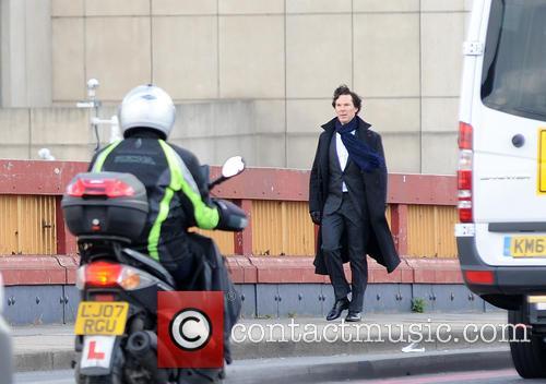 Benedict Cumberbatch filming 'Sherlock'